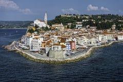 Piran στη σλοβένικη ακτή Στοκ Εικόνες