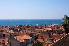 Piran altes Stadtdach Lizenzfreies Stockfoto
