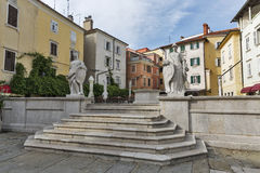 Piran ancient square in Old Town, Slovenia Royalty Free Stock Photos