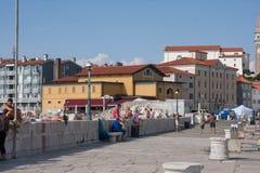 Piran. Catwalk in the Slovenian towm Piran stock image