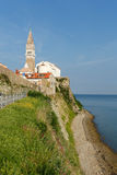 Piran church taken from the beach Stock Images