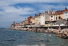 Piran, cidade velha em Eslovênia fotos de stock royalty free