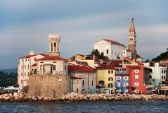 Piran colorful panorama in afternoon light. Piran panorama with pitoresque colored houses Stock Image