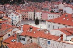 Piran, cuadrado de Tartini - visión superior, Eslovenia Fotos de archivo libres de regalías