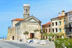 Piran härlig medeltida stad på den Slovenien Adriatiska havet kusten Arkivbilder