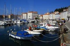 Piran Hafen, Slowenien lizenzfreie stockbilder