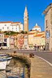 Piran harbor, bell tower and Tartini square in background, Istria. Slovenia Royalty Free Stock Photo