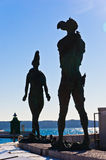 Piran harbor with symbolic statues of Tartini theatre, Istria Stock Photo