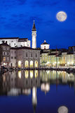 Piran at moon night Stock Photos