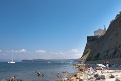 Piran old town beach Royalty Free Stock Photo