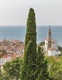 Piran Old Town cityscape, Slovenia. Aerial view. Stock Image