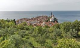 Piran Old Town cityscape, Slovenia. Aerial view. Royalty Free Stock Photos
