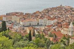 Piran Old Town cityscape, Slovenia. Aerial view. Stock Photo
