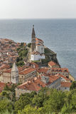 Piran Old Town cityscape, Slovenia. Aerial view. Stock Photos