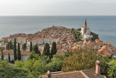 Piran Old Town cityscape, Slovenia. Aerial view. Royalty Free Stock Photography