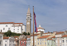 Piran old town cityscape from Tartini Square, Slovenia. Stock Photography