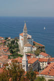 Piran (Pirano), Slovenia. Piran (Pirano) village panoramic view and sea, Slovenia Stock Photography