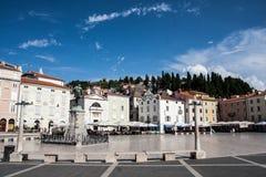 Piran. Placa in small slovenian town Piran Stock Photo