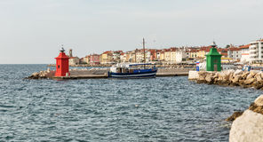 Piran port. Mediterranean Sea, Slovenia. Royalty Free Stock Photos