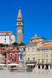 Piran - schilderachtige Adriatische stad Stock Foto