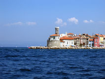 Piran from the sea Stock Photography