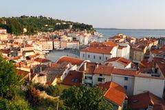 Piran sea town at sunset Royalty Free Stock Photo