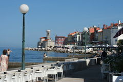 Piran shore caff�s Royalty Free Stock Photo