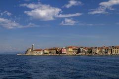 Piran, Slovenië Mening over oude ribbenstad Piran Istria van Adriatische overzees, Slovenië Royalty-vrije Stock Fotografie