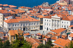Piran, Slovenia. The Market Square in the Slovenian town Piran on the Adriatic Coast. Taken from a high vantage point with a telezoom lens Royalty Free Stock Photography