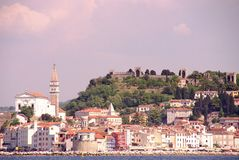 Piran, Slovenia. The city Piran in Slovenia with the cathedral of St George Royalty Free Stock Photography