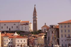 Piran, Slovenia. The medieval city Piran in Slovenia with the Saint George cathedral Royalty Free Stock Photo