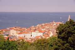 Piran, Slovenia. The medieval city Piran in Slovenia with the municipal hall and the court housel Royalty Free Stock Images