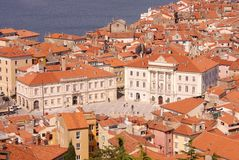 Piran, Slovenia. The medieval city Piran in Slovenia with the municipal hall and the court housel Royalty Free Stock Image