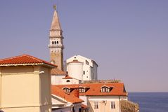 Piran, Slovenia. Withe the saint George cathedral Stock Photo