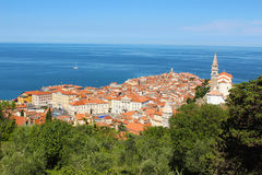 Piran, Slovenia from the city walls. A view of the peninsular in Piran Slovenia, from the city walls Royalty Free Stock Images