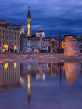 Piran,slovenia,europe. Reflection of Piran at night, Slovenija,europe stock photography