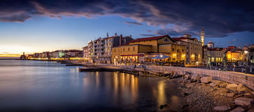 Piran slovenia europe. Piran sunset piran Slovenija,europe royalty free stock photo