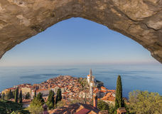 Piran,slovenia. Sea scape piran town slovenia royalty free stock photo