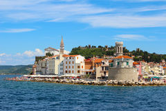 Piran, Slovenia from the sea. A view of the tip of the peninsular in Piran Slovenia, showing the lighthouse Stock Images