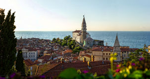 Piran,slovenia. Piran Tower in slovenia,Europe royalty free stock image