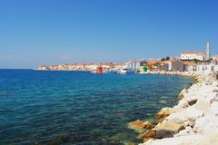 Piran, Slovenia. View from the coast to the town of Piran, Slovenia Royalty Free Stock Photography
