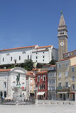 Piran, Slovenia. View of the Main Square of the village of Piran, Slovenia Royalty Free Stock Photo