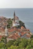 Piran Stary Grodzki pejzaż miejski, Slovenia widok z lotu ptaka Zdjęcia Stock