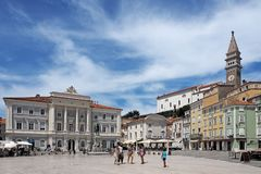 Piran, stary miasteczko w Slovenia zdjęcia royalty free