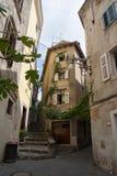 Piran street. The narrow streets in town Piran stock photo