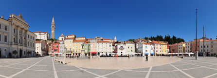 Piran - Tartini's square panorama Stock Photos