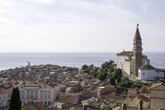 Piran town from above Royalty Free Stock Image