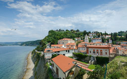 Piran town walls on the hill Stock Photography