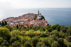 Piran. The view on Piran from tower Royalty Free Stock Image