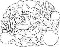 Piranha κινούμενων σχεδίων, χρωματίζοντας βιβλίο Στοκ φωτογραφία με δικαίωμα ελεύθερης χρήσης